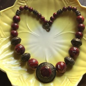 Jewelry - Gorgeous Red Big Bead - Statement Necklace